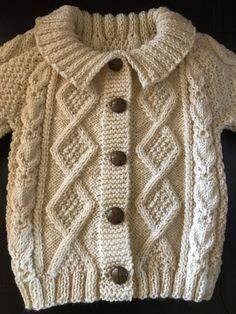 Irish Aran Wool Toddler Sweater, Design B Boys Knitting Patterns Free, Baby Cardigan Knitting Pattern Free, Baby Sweater Patterns, Knitted Baby Cardigan, Baby Knitting, Toddler Cardigan, Cardigan Bebe, Pullover Design, Sweater Design
