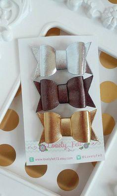 Metallic Felt Bow Hair Clips Set - Gold -Silver- Bronze Metallic Felt Hair Bows…