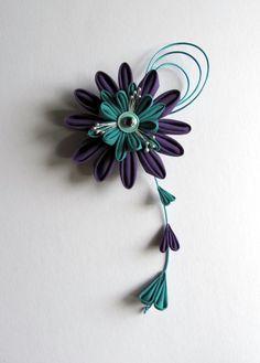 Purple & Aqua Kanzashi Hair Fascinator Custom made by EmjoyShop