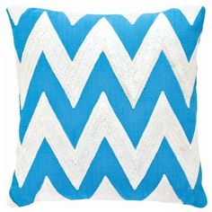 Dash & Albert Chevron Turquoise Indoor Outdoor Pillow