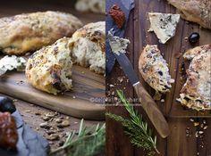 Pain au bleu et noix, olive et tomate séchées