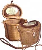 A truly authentic replica of the original Lightship basket, popularly known as a Nantucket basket. 5 different handbags, wood handle or leather shoulder strap - over 65 different designs. Includes a matching key chain & a penny with the year it was born