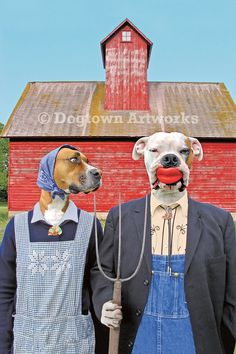 Dog Gothic, large funny original photograph, Boxer dogs wearing vintage clothes spoof of Grant Wood's American Gothic. American Gothic Parody, William Wegman, Art Grants, Les Fables, Grant Wood, Kunst Online, Museum, Boxer Dogs, Boxers