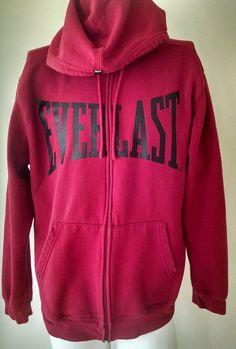 Everlast Red Black Full Zip Hoodie Jacket Warm Up Athletic Boxing  Size XL  #Everlast #Hoodie