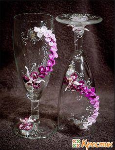 Делаем свадебные бокалы своими руками