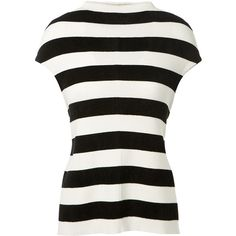 Victoria Beckham Striped Mixed Wool Top (87.045 RUB) ❤ liked on Polyvore featuring tops, white top, sleeveless boatneck top, boat neck sleeveless tops, victoria beckham and boat neck tops