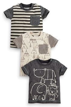 Next Three Pack Tee Pee And Stripe T-Shirts (0-18mths)