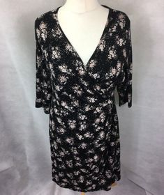 949091171fa9 Marks Spencer Womens Wrap Dress Black Size 18 Stretch Floral Summer UK U2 # fashion #