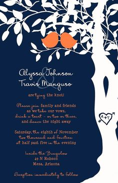 Custom Wedding Program Listing for cloudsareorange - Navy Blue and Orange love birds in a tree on Etsy, $102.00