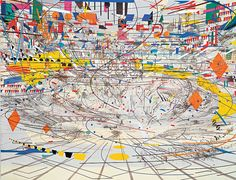 "Julie Mehretu - ""Stadia II,"" 2004; Ink and acrylic on canvas, 108 x 144 inches; ""Some days I'll be engaged in painting, and make great headway, and then the next day I'll come in and I have no access. You can have the whole day just feel like you're spinning your wheels. But I think that's part of the work—being in the studio, just looking at the work for a long time, and realizing the painting."" -Julie Mehretu"