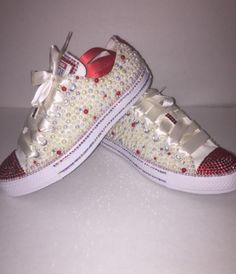 Custom bling converse all star chuck taylor sneakers embellished with high  quality rhinestones and pearls. 7b6e50814a