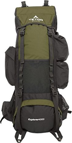 TETON Sports Explorer 4000 Internal Frame Backpack Great Backpacking Gear Hiking Backpack for Camping and Hunting Hunter Green ** Learn more by visiting the image link. This Amazon pins is an affiliate link to Amazon.