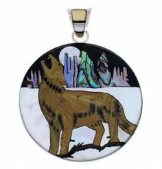 Genuine Sterling Silver And Multicolor Inlay Coyote Pendant EX29692