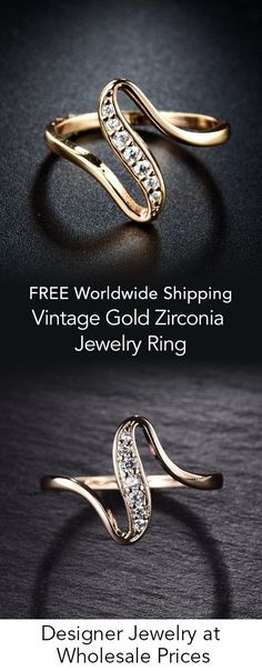 Vintage Gold Zirconia Jewelry Ring