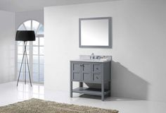 Shop for Virtu USA Winterfell Square Single White Marble Bathroom Vanity Set without Mirror. Get free delivery On EVERYTHING* Overstock - Your Online Furniture Outlet Store! Get in rewards with Club O! Best Bathroom Vanities, Bathroom Vanity Cabinets, Single Bathroom Vanity, Single Vanities, Bathroom Ideas, Round Sink, Square Sink, Vanity Set With Mirror, Marble Vanity Tops