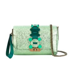Green crossbody wallet featuring a creased metallic leather construction with removable wristlet and shoulder straps. ShopBAZAAR, shop designer clothing, shoes and accessories selected exclusively by the editors at Harper's Bazaar.