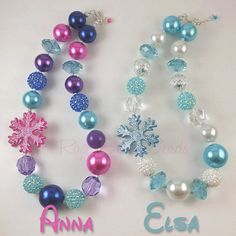 Frozen inspired necklace Elsa or Anna por RazzBerryBeads en Etsy Frozen Themed Birthday Party, Frozen Birthday Party, 6th Birthday Parties, 4th Birthday, Frozen Jewelry, Frozen Necklace, Ana Frozen, Frozen Party Decorations, Valentines Diy