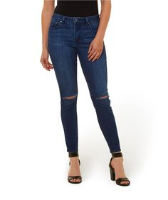 $50 The Slashed Ankle Grazer Jean in indigo with slashed knee is our favourite! Mid-rise, skinny fit jean with ankle grazer length.