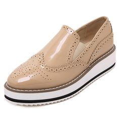 Item Type: Flats Platform Height: 0-3cm With Platforms: Yes Closure Type: Slip-On Toe Shape: Round Toe Insole Material: PVC Upper Material: PU Decorations: Plain Pattern Type: Solid Leather Style: Sof