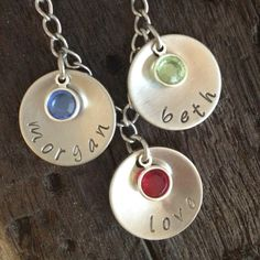 Personalized hand stamped necklace, with Swarovski birthstones- Inspired By Bronx