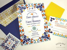Spanish Tile Colorful Talavera Wedding Invitations with envelope liner and twine monogram tag made in our citlali creativo shop! - citlalicreativo.com - we make & ship to you anywhere!
