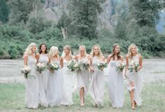ethereal misty gray bridesmaids gowns