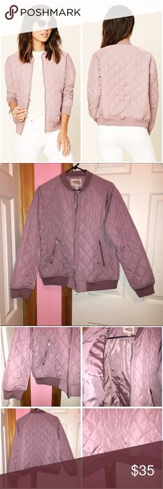 Quilted Bomber Forever 21 contemporary jacket. Only tried on. Please note color is true to the photos I took not the stock photos. Color is lavender. Bomber jacket with a quilted design. Ribbed Trim. Two front slanted zippered pockets. 100% polyester. Stock photos from Forever 21. ❌NO TRADES❌ Forever 21 Jackets & Coats