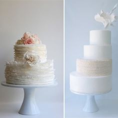 Cake on the left - simple white with large pink flowers. Love love love.