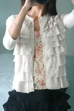DIY ruffled cardigan, modest and feminine dressiing, love the ruffles!!