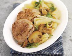 Gemüsepasta mit Schnitzel