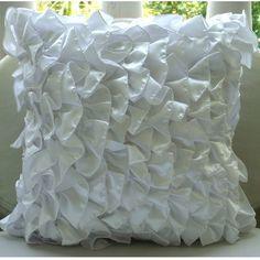 """Vinage Style Ruffles 18""""X18"""" Satin White Pillow Cases - Vintage Whites"""