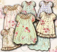 Printable VINTAGE DRESS No. 3 Digital Images / Girl Dress Clip art / doll / Dress Collage Sheet / Printable Dress / Printable Die Cut Dress
