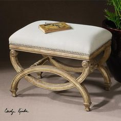 Buy Uttermost Karline Small Linen Upholstered Bench on sale. Small Upholstered Bench features hand carved white mahogany wood legs and finished in antiqued almond finish. Upholstered with natural sand linen Tuscan Furniture, Furniture Vanity, Vanity Stool, Accent Furniture, Painted Furniture, Rococo Furniture, Vanity Chairs, Painted Chairs, Garden Furniture