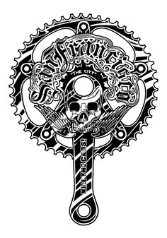 """I call this one """"Crank"""". Cycling Tattoo, Bicycle Tattoo, Bike Tattoos, Bicycle Art, Cycling Art, Skull Logo, Skull Art, Bike Speed, Mike Giant"""