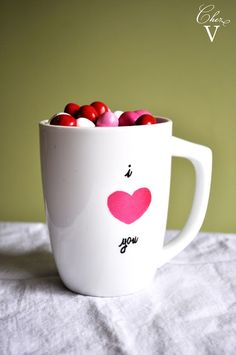 Chez V: Holiday - A DIY Valentine Mug, Baked Goods & Flowers