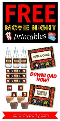 If you are planning a movie night party, then these FREE movie night printables are just what you need to create some movie theatre magic! The collection includes free movie night signs, free cupcake toppers and water bottle labels. Imagine the fun you and your guests could have lounging around on some comfy poufs and watching a fun movie. So, get the popcorn ready. The movie is about to start! See more party ideas and share yours at CatchMyParty.com #catchmyparty #partyideas…