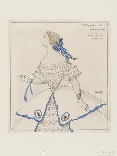 Costume design by Leon Bakst for Bronislava Nijinska as Papillon in Mikhail Fokine's ballet Carnaval, Diaghilev Ballets Russes, 1910.