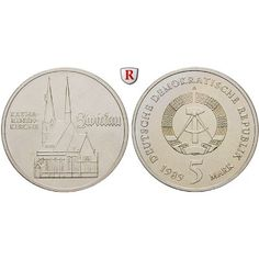 DDR, 5 Mark 1989, Katharinenkirche Zwickau, st, J. 1626: Kupfer-Nickel-5 Mark 1989. Katharinenkirche Zwickau. J. 1626; stempelfrisch… #coins