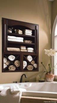 Such a great use of otherwise wasted space. Perfect spot for extra towels and bubble bath. storage+between+the+studs | Between the studs, in wall storage