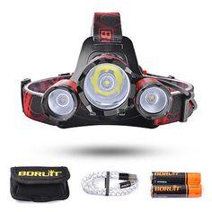 BORUiT 2200LM CREE L2 2 XPE LED Headlight USB Rechargeable Headlamp Torch SU407