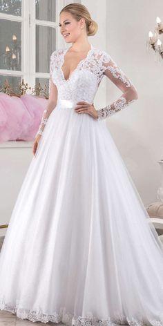 Chic Tulle V-neck Neckline Natural Waistline A-line Wedding Dress With Beaded Lace Appliques #laceweddingdresses #weddingdress