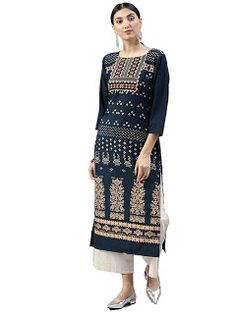 Women's Dark Blue Color Round Neck Knee Length A-line Daily Wear Kurti Indian Dresses, Indian Outfits, New Kurti, Fancy Kurti, A Line Kurta, Long Tunic Tops, Printed Kurti, Indian Couture, Indian Bollywood