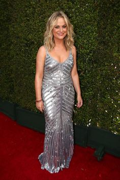 Amy Poehler's been bringing her A-game to the red carpet ever since she chose a tux at the 2013 Golden Globes. This silver, striped Theia gown is an art deco masterpiece, and lends a classic, almost sporty silhouette some Old Hollywood elegance.