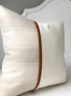 Genuine Leather Pillow Covers 18 x Cover Striped Linen Neutral Pillow~Leather Throw Pillow Covers by Spicy Nacho Decor : Decorative Pillow Covers 18 x Cover Striped Color Block Cream Linen with Golden Brown Leat Sewing Pillows, Diy Pillows, Linen Pillows, 20x20 Pillow Covers, Decorative Pillow Covers, Cushion Covers, Couch Covers, Leather Throw Pillows, Leather Pillow