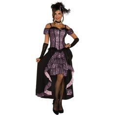 Dance Hall Mistress Adult Costume ($48) ❤ liked on Polyvore featuring costumes, halloween costumes, purple costume, purple halloween costumes, adult costumes, lace costume and sexy costumes
