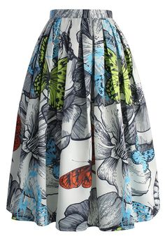 Pleated Butterfly Printed Midi Skirt