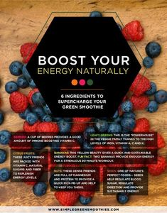 Boost your energy naturally with these 6 ingredients to supercharge your green smoothie. I SimpleGreenSmoothies.com #SimpleGreenSmoothies #energy #smoothie #boost