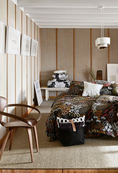 Marimekko Home (ännu en gång) (Inredningshjälpen) Beautiful Interiors, Beautiful Homes, Minimal Bedroom, Fall Winter 2017, Alvar Aalto, Wood Interiors, Marimekko, New Room, Cozy House
