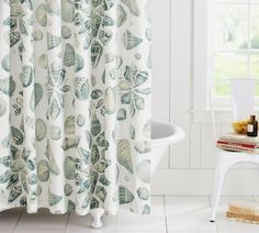 Freeport Shell Organic Shower Curtain | Pottery Barn *my shower curtain in our newly renovated bathroom~love it!