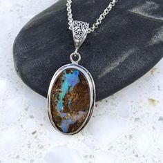Australian Boulder Opal Necklace by SignatureOpal on Etsy